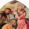 Albrecht Dürer: Jabach Altar linker Flügel außen, Szene: Hiob von seiner Frau verhöhnt