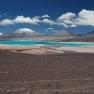 Incahuasi (links) und el Fraile, Laguna verde, Chile