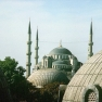 Istanbul: Blick über die Kuppel der Aya Sophia zur Sultan Ahmet Moschee
