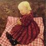 Bauernkind auf rotgewürfeltem Kissen