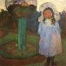 Mädchen im Garten neben Glaskugel (Elsbeth)