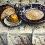 Stilleben mit Milchsate (Frühstückstisch)